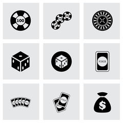 Vector black casino icon set