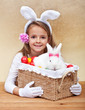Happy spring girl with easter basket