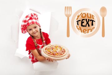 Little chef offering you a fresh pizza