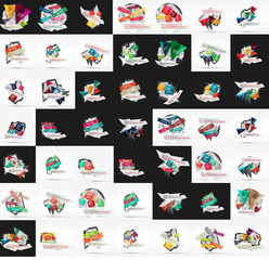 Paper graphic banners set, mega collection