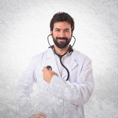 Doctor over white background