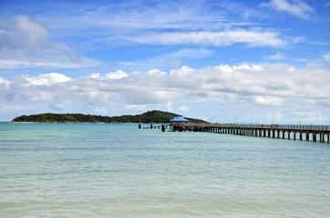 Bridge for walk way at Rawai Beach of Phuket Thailand