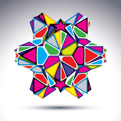 Rich 3d abstract psychedelic figure constructed from triangles a