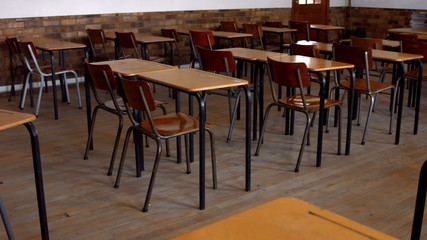 Empty classroom in a school