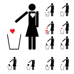 set of eleven woman figures throwing in the trash heart alcohol