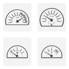 monochrome icon set with spidoietr temperature auto