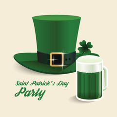 Vector modern design Saint Patrick's Day green hat with green be