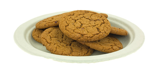 Molasses Cookies On Green Paper Plate