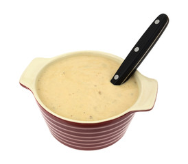 Mushroom Soup In A Bowl With Spoon