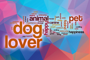 Dog lover word cloud with abstract background