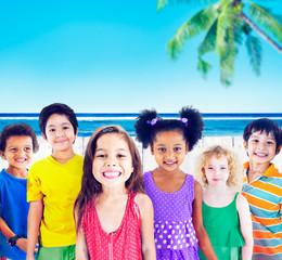 Diversity Children Smiling Summer Happy Concept