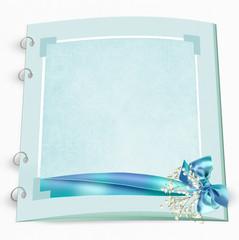 Bridal wedding album with aqua bow