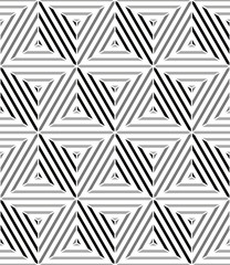 Lined 3d cubes seamless pattern, black and white vector backdrop