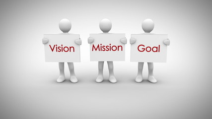 White characters showing signs saying vision mission goal