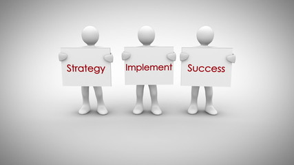 White characters showing signs saying strategy implement success