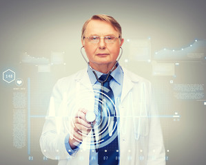 calm doctor or professor with stethoscope