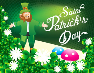 happy St partrikc's day Background with clover