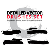 Set of highly detailed vector brush strokes, illustrator object - 79506242