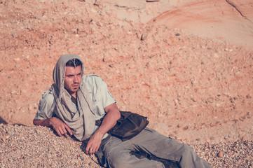 man tired in the desert