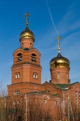 кирпичная церковь с золотыми куполами