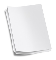 Blank White Paper. Clipping Path.