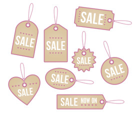 A set of heart themed price tags