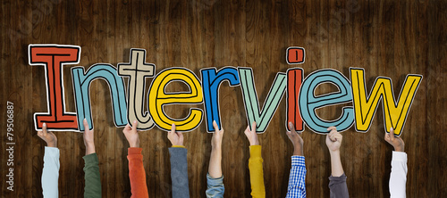 Leinwandbild Motiv Group of Hands Holding Interview Word Concept