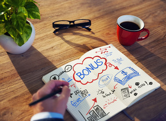 Working Notepad Bonus Salary Growth Success Promotion Concept