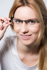 Beauty girl wearing glasses