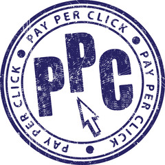 PPC (Pay Per Click) rubber stamp.
