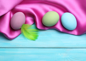 Easter colorful eggs on blue  background