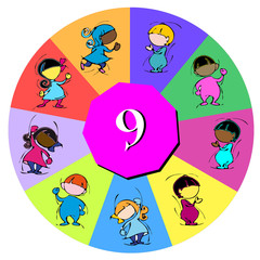children with number nine