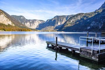 wooden pier in Salzkammergut Lakes, Austria