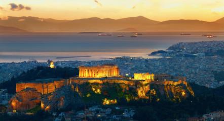 Panorama of Athens, Greece. After sunset. Parthenon and Herodium