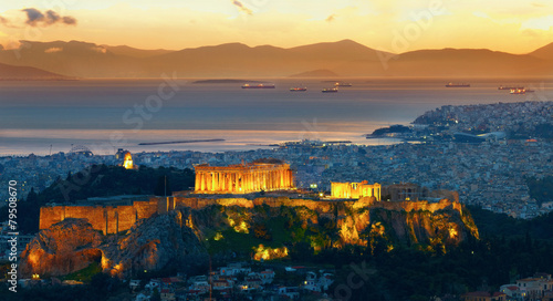 Panorama of Athens, Greece. After sunset. Parthenon and Herodium
