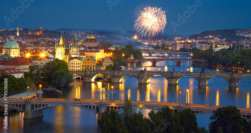 Foto op Canvas Praag Panorama of Prague after sunset with fireworks