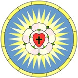 Luther rose (Christian Symbol), circular window