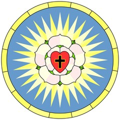 Luther rose (Christian Symbol), circular window