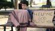 Homeless child begging