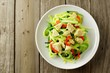 Healthy zucchini noodle dish with chicken on wood background - 79510004