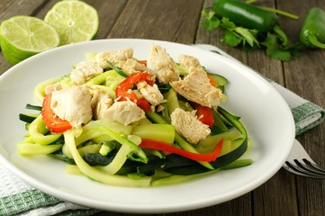 Healthy zucchini noodle dish with chicken on white plate