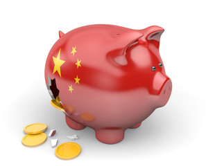 China economy and finance concept for national debt crisis