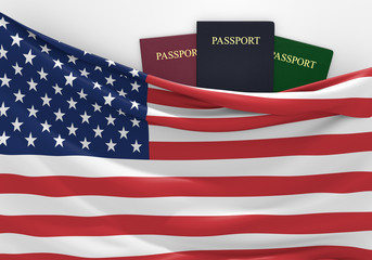 Travel and tourism in the United States, with assorted passports