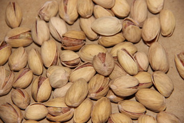Roasted pistachio nuts on paper