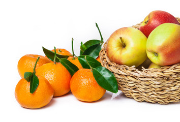 Obstkorb, Äpfel, Blattclementinen