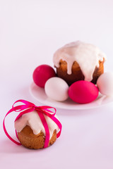 Easter cake and easter eggs  on a white background. Selective fo