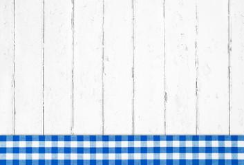 Holz Hintergrund mit Rahmen blau weiß kariert