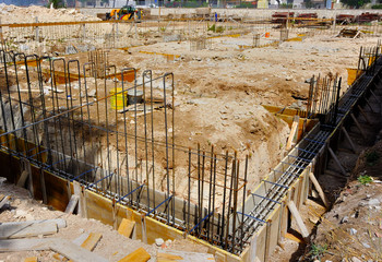 Wood formwork and reinforcing steel bars use for ground beam
