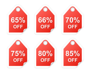 Curled corner shopping tags. Part three. Vector illustration