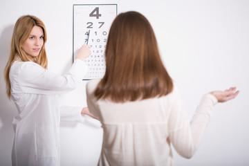 Woman suffering for myopia